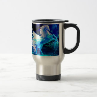 Unicorn Forest Stars Cristal Blue Travel Mug