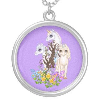 Unicorn Friends Pixel Art Round Pendant Necklace