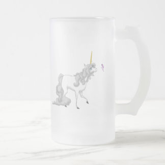 Unicorn Frosted Glass Beer Mug