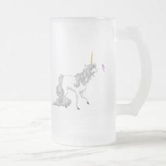 Unicorn Frosted Glass Beer Mug