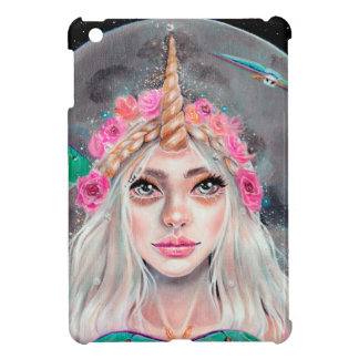Unicorn Girl and her Luna Moths, Original art iPad Mini Cover