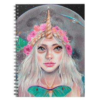 Unicorn Girl and her Luna Moths, Original art Notebook