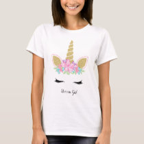 Unicorn Girl Gold Glitter Lovely Floral Outfit T-Shirt