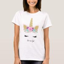 Unicorn Girl Gold Glitter Modern Floral Outfit T-Shirt