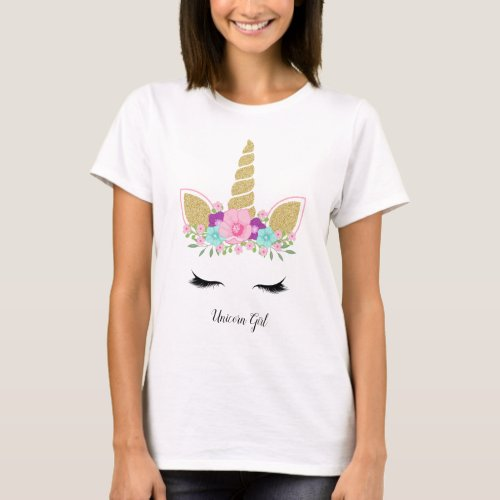 Unicorn Girl Gold Glitter Modern Floral Outfit T_Shirt