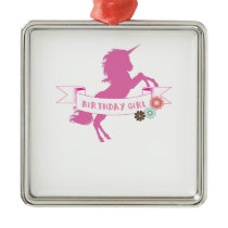 Unicorn Girls Birthday Unicorn Lovers Metal Ornament