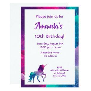 10th birthday invitations zazzle unicorn girly fantasy purple 10th birthday party invitation filmwisefo