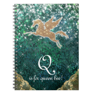 Unicorn Glitter Gold Light Purple Letter Q Queen B Notebook