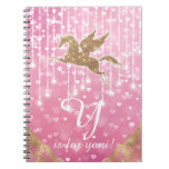 Unicorn Glitter Gold Pink Heart Lights Letter Y Notebook