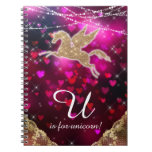 Unicorn Glitter Gold Red Light Hearts Letter U Notebook