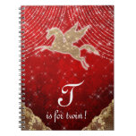 Unicorn Glitter Gold Red Light Stars Letter T Twin Notebook