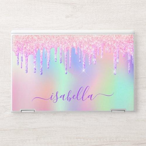 Unicorn glitter pink rose gold rainbow holographic HP laptop skin