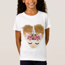 Unicorn Gold Glitter Heart T-Shirt