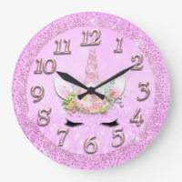 Unicorn Gold Lash Numbers Girly Glitter Spark Pink Large Clock