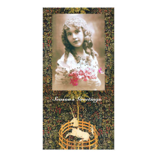 UNICORN GOTHIC FANTASY GREEN FLORAL Christmas Card