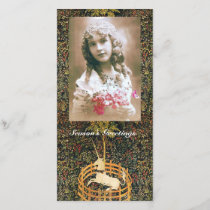 UNICORN GOTHIC FANTASY GREEN FLORAL Christmas Holiday Card