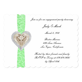 Unicorn Green Lace Engagement Party Invitation