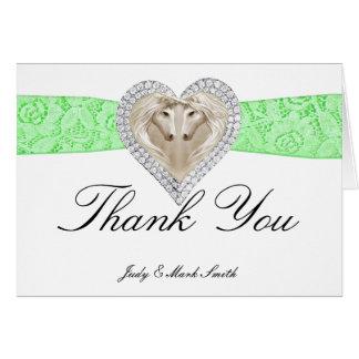 Unicorn Green Lace Thank You Card