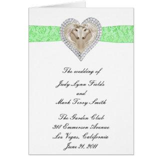 Unicorn Green Lace Wedding Program Card