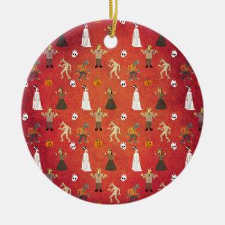 Unicorn Halloween Party Pattern Ceramic Ornament