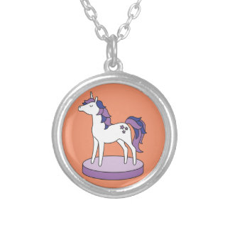 Unicorn hanger jewel silver plated necklace