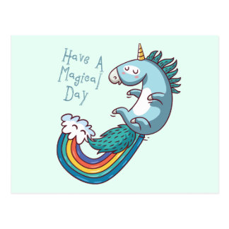 Unicorn have a magical day postcard
