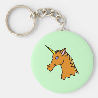 Unicorn Head Basic Round Button Keychain