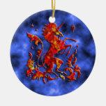 Unicorn Herald: Flame on Blue Christmas Tree Ornament