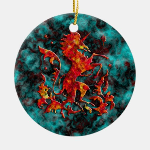 Unicorn Herald: Flame on Dark Bloodstone Christmas Ornaments