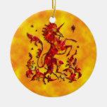 Unicorn Herald: Flame on Yellow Christmas Ornament