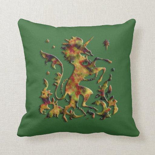 Unicorn Herald: Golden Agate (Customizable) Throw Pillows