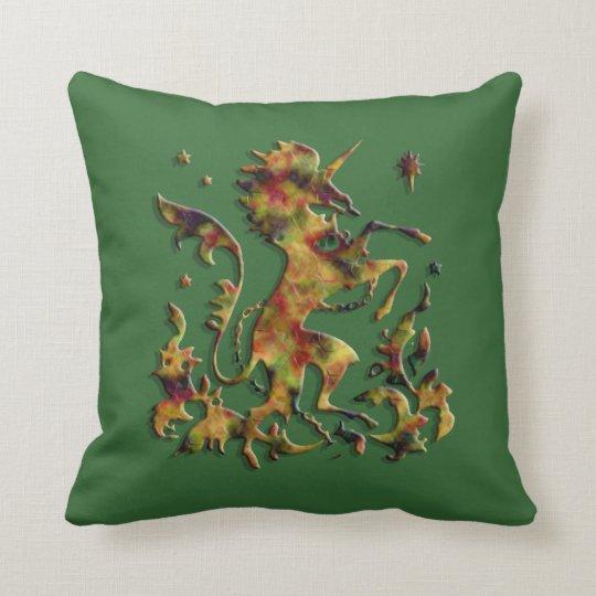 Unicorn Herald: Golden Agate (Customizable) Throw Pillow
