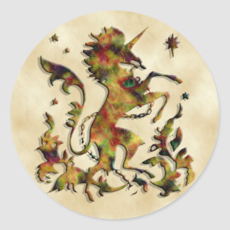 Unicorn Herald: Old Gold Classic Round Sticker