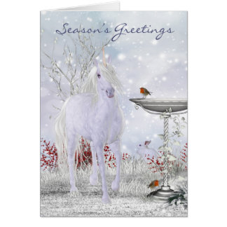 Unicorn Holiday Card Winter Scenery With Robins