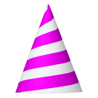 Unicorn Horn Party Hat - Hot Pink & White