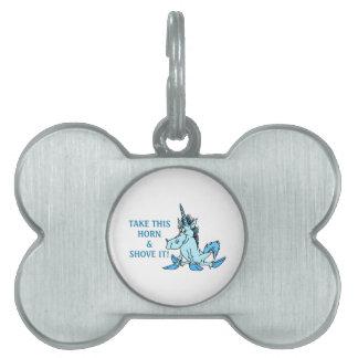 Unicorn Horn Shove It Pet Name Tag