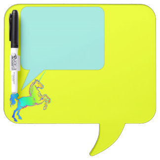 Unicorn Horn Talk Box Bright Ombre Rainbow Dry-Erase Board