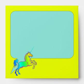 Unicorn Horn Talk Box Bright Ombre Rainbow Envelope