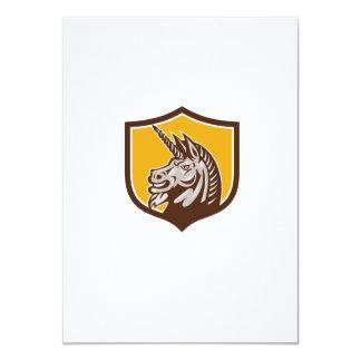 Unicorn Horse Head Side Crest Retro 4.5x6.25 Paper Invitation Card