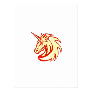 Unicorn Horse Head Side Woodcut Postcard