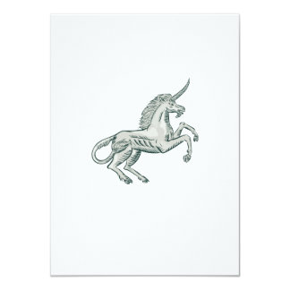 Unicorn Horse Prancing Side Etching 4.5x6.25 Paper Invitation Card