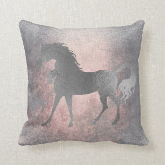 Unicorn Horse Princess Pink Fairly Silver Grungy Throw Pillow