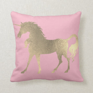 Unicorn Horse Princess Pink Rose Fairly Gold Throw Pillow