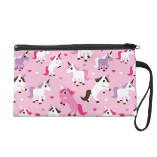 unicorn illustration kids background wristlet