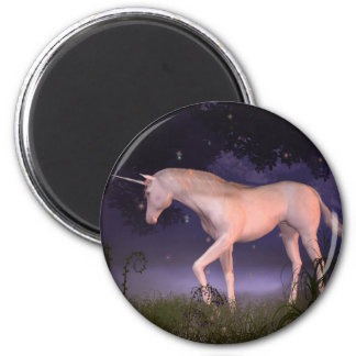 Unicorn in a Misty Forest Glade Magnet