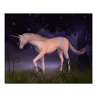 Unicorn in a Misty Forest Glade Poster
