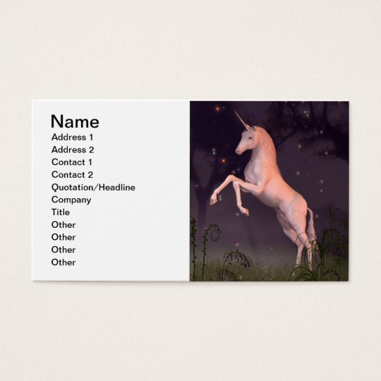 Unicorn in a Moonlit Forest Glade Business Card