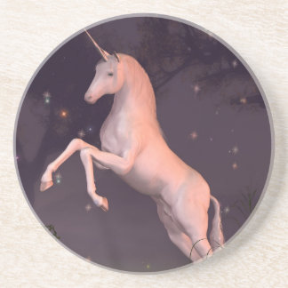 Unicorn in a Moonlit Forest Glade Coaster
