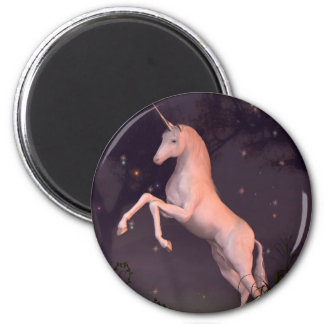 Unicorn in a Moonlit Forest Glade Magnet