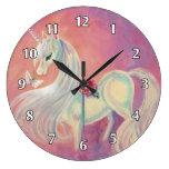 Unicorn In Blush Of Dawn Clocks